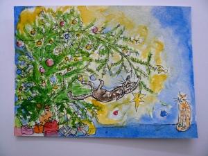 cat Christmas tree lights