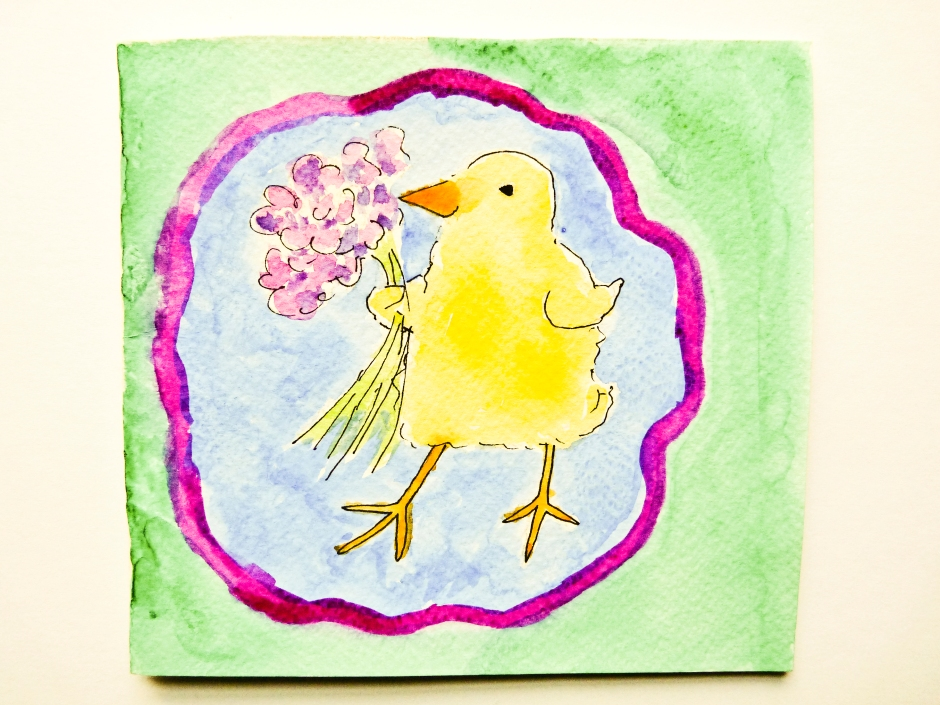 Chick and flowers Mothers Day card