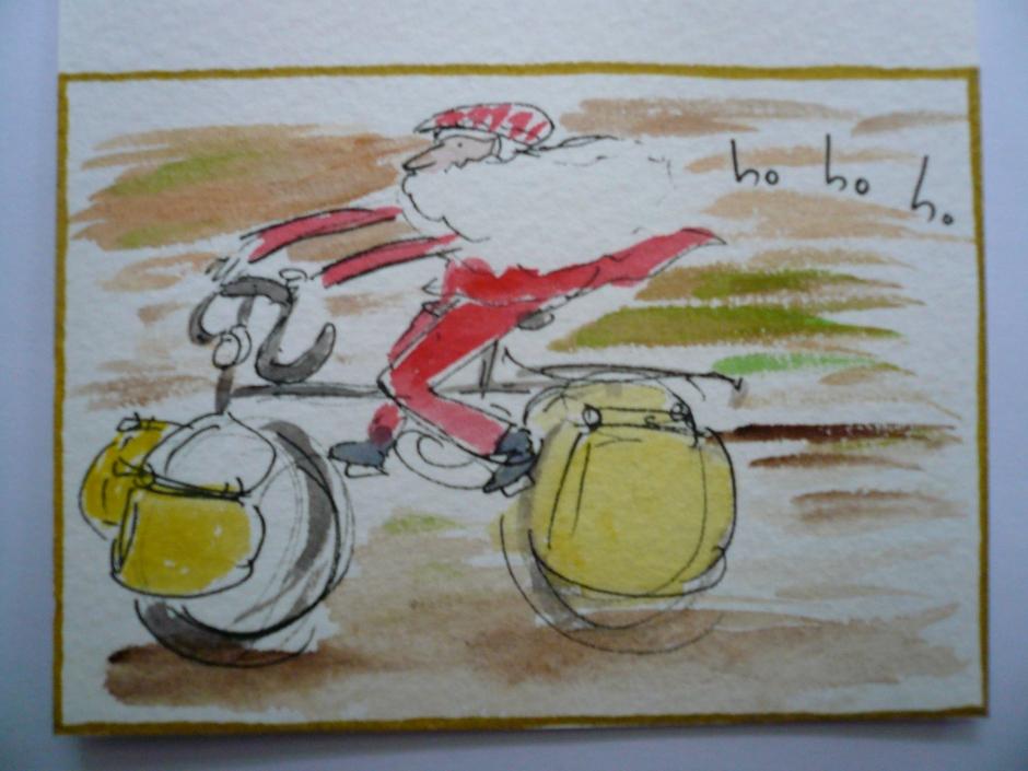 Christmas cyclist