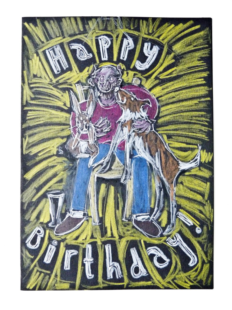 Man and dog birthday card