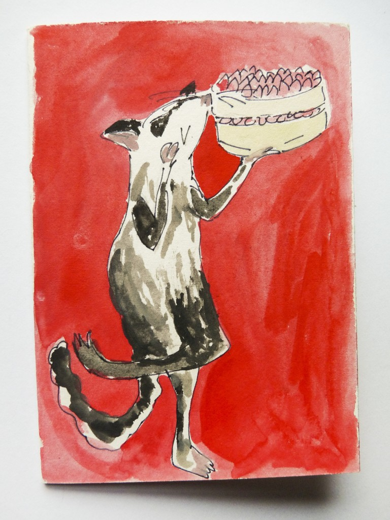 Possum birthday cake card