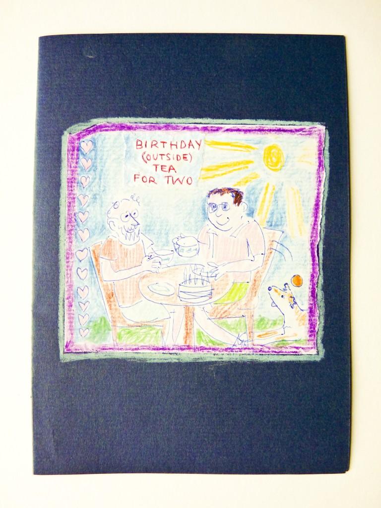 Tea outisde with Mo birthday card
