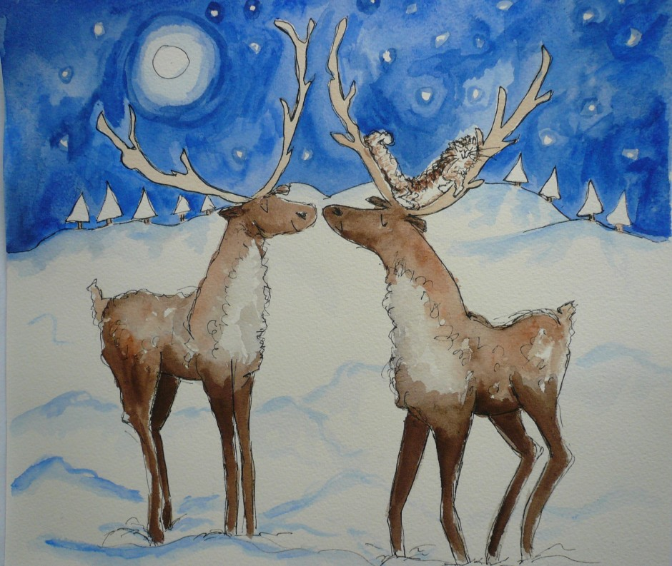 Reindeer Christmas card